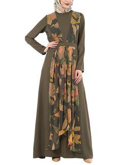 Shop Green Printed Pleated Abaya from House of Zeniaa By Esha Gupta Indian Fashion Designers, Green Print, Indian Wear, Traditional Outfits, Wrap Dress, Fashion Show, Women Wear, Feminine, Kebaya