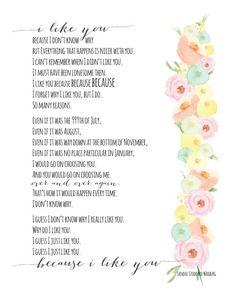 I Like You Print Sandol Stoddard Warburg Watercolor By Ysmpaper Wedding Poems Readings