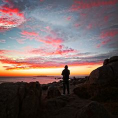 Puesta de sol en San Vicente do Mar O Grove en Galicia