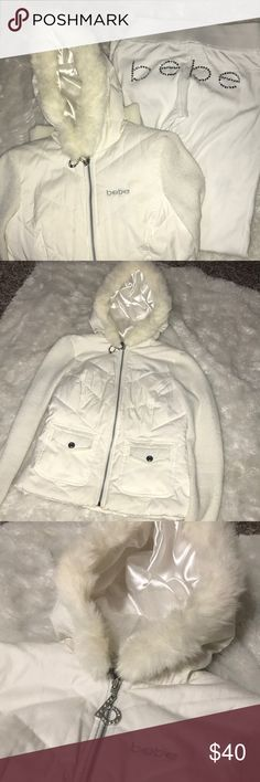 Bebe fur jacket & pants White jacket with fur around the hood. The matching pants. The jacket is a size small and the pants are an xs. There's a faint blue stain on the back of the right leg. It's not noticeable unless you really look closely. bebe Jackets & Coats