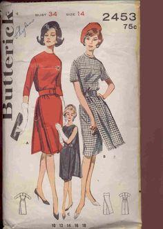 Butterick 2453 1960s Paneled Sheath Dress Pattern. $11.00, via Etsy.