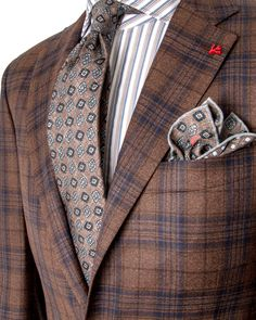 Image of Isaia Chocolate and Navy Plaid Sportcoat