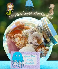 This set of Glitter Mermaid Birthday Party Food Cards is a printable digital download. These DIY food label tent cards have a picture of a Jellyfish, Seahorse, Hermit Crab, and a Mermaid. You will get