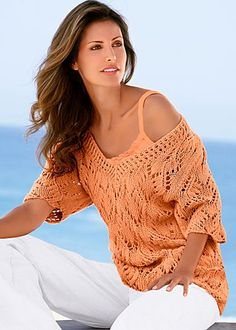 Open knit sweater  women clothing outfit fashion style apparel apricot orange white pants