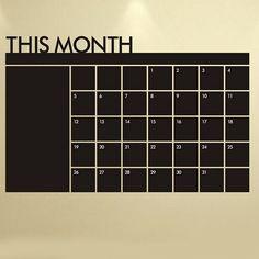 Blackboard Calendar Record Printed Home Decor Wall Sticker - BLACK