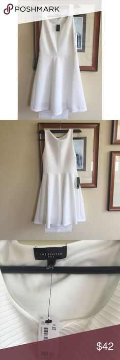 The limited one piece white dress Brand new dress. Perfect length about just above knees The Limited Dresses Midi