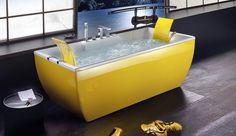 http://www.bebarang.com/colored-bathtubs-make-your-bathroom-more-cheerful/ Colored Bathtubs, Make Your Bathroom More Cheerful : Yellow Bathtub Colored Bathtubs