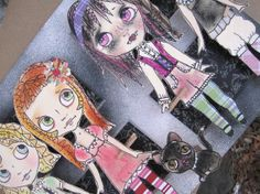 Gothic Vampire Paper Doll Mixed Media Pop Art - OOAK Original 3D Big Eyed  - Will They Bite?