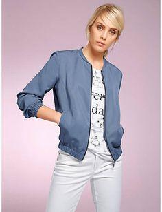 8be498eafb04 heine STYLE - Blouson mit leichtem Glanz bleu im heine Online-Shop kaufen