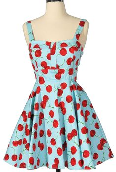 Cheerful cherry blue printed fit and flare dress. So retro/pin up! Vintage Inspired Outfits, Vintage Outfits, Vintage Dress, Retro Dress, Outfits For Teens, Cute Outfits, Retro Fashion, Vintage Fashion, Style Feminin