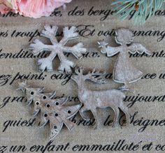 Vianočná drevené ozdoba - sada 4 kusy