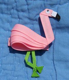 Flamingo Hair Clip Ribbon Sculpture Pink by CelticTideCreations