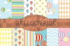 Balloon ride, hot air balloons by Kiwi Fruit Punch on @creativemarket
