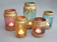 DIY Moroccan Candle Holders Simply Collect Glass Jars Decorate with Gold Paint for CHEAP CHIC Moroccan Decor! is part of Moroccan decor Gold - gleefulthings com site Moroccan Party, Moroccan Theme, Moroccan Style, Moroccan Bedroom, Morrocan Theme Party, Moroccan Inspired Bedroom, Moroccan Decor Living Room, Moroccan Interiors, Moroccan Design