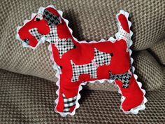 Dog patterned dog with ricrac trim for a boy who loves doggies