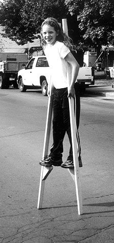 Walking on stilts--as precautionary measure, in case of emergencies, like fires, flames etc.