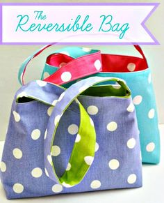 ❀ Easy Reversible Bag + How to Use One-Sided Fusible Stabilizer – Free Sewing Tutorials from Kristin of Grandma's Chalkboard and Kelley of Casa Crafty.