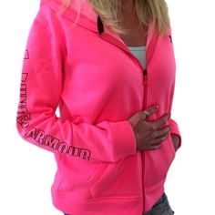 UNDER ARMOUR New Women's Neon Pink Graphic Logo Hoodie Sweatshirt Sweater S M L #Underarmour #Hoodie