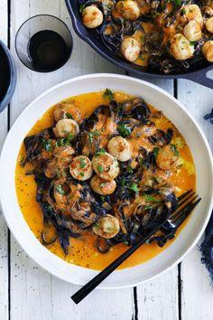 Neil Perry& Good Weekend recipe: Squid-ink pasta with scallops, chilli, tomato & garlic. Shrimp Recipes, Pasta Recipes, Cooking Recipes, Healthy Recipes, Fettuccine Recipes, Squid Recipes, Fettuccine Alfredo, Dinner Recipes, Black Bean Pasta