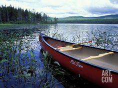 Canoeing on Lake Tarleton, White Mountain National Forest, New Hampshire, USA Photographic Print