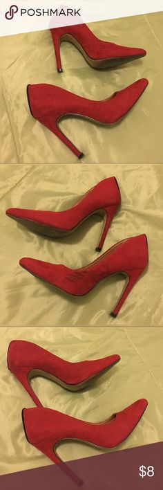 Red High Heels Shoedazzle Izabella Rue -Joey. Pointed toe pump shoes with a slim heel. Scuff marks on the sides and on the heel. ShoeDazzle Shoes Heels