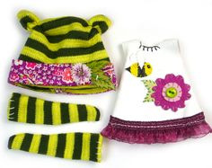 Lati Yellow Doll Clothes Tiny Bee and Flower 3pc One of a Kind Outfit Set in Black and Yellow via Etsy