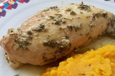 Garlic chicken breasts--I used basil and parsley, sub'd coconut oil for butter
