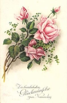 Postally used 1928 German Rose Postcard Vintage Cards, Vintage Paper, Vintage Postcards, Rose Illustration, Decoupage Glass, Decoupage Vintage, Beautiful Flowers Pictures, Flower Pictures, Art Floral