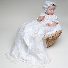Scarlett Lace Christening Gown | Heirloom Baptism Silk Gowns for Baby Girls