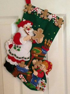 Christmas Cookies Bucilla Stocking by MonkeyGrassDesigns on Etsy Felt Christmas Stockings, Felt Stocking, Christmas Card Crafts, Christmas Sewing, Christmas Wood, 1st Christmas, Handmade Christmas, Christmas Cookies, Holiday Crafts