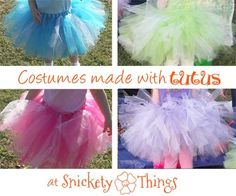 Using a tutu as the base for Halloween costumes. Shown here Cinderella, Aurora, Fancy Nancy and Tinkerbell.