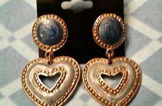 vintage earrings pierced Dangle heart Blue and mauve enamel. Drop Earrings, Pierced Earrings, Vintage Earrings, Mauve, Vintage Designs, Dangles, Enamel, Ebay, Jewelry