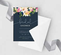 Navy Blue Bridal Shower Invitation Floral Bridal Shower | Etsy