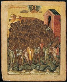 The Forty Martyrs of Sebaste and Four Men in the Fiery Furnace Fiery Furnace, Ancient Alphabets, Black Israelites, Russian Icons, Roman Soldiers, Orthodox Icons, Christian Art, 15th Century, Fresco