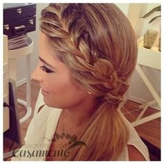 French Braid into a Low Side Ponytail pferdeschwanz, 45 Elegant Ponytail Hairstyles for Special Occasions Side Ponytail Hairstyles, Side Braid Ponytail, Side Ponytails, Pretty Hairstyles, Wedding Hairstyles, Braid Hair, Side Braids For Long Hair, Side Plait, Ponytail Ideas