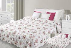 Prehoz na posteľ bielej farby s motívom bordových kvetov Comforters, Blanket, Bed, Furniture, Home Decor, Creature Comforts, Quilts, Decoration Home, Stream Bed