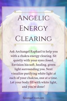 Here's a lovely way to feel refreshed: Clear your chakras with the help of Archangel Raphael, the angel of healing. Take as long or as short of a time with this as you need to purify your chakras and clear your energy. If you enjoy meditating wit Chakra Healing, Healing Spells, Healing Crystals, Autogenic Training, Reiki Training, Archangel Prayers, Archangel Uriel, Archangel Raphael Prayer, Les Chakras