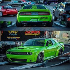 The Project Hulk Dodge Challenger By Liberty Walk Is Definitely A Killer Ride! American Muscle Cars, Modern Muscle Cars, Custom Muscle Cars, Dodge Muscle Cars, Best Muscle Cars, Custom Cars, Green Mustang, Hulk, Dodge Challenger Srt Hellcat