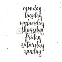 Handwritten days of the week: Monday, Tuesday, Wednesday, Thursday, Friday, Saturday, Sunday. Black ink calligraphy words isolated on white background. Calligraphy.