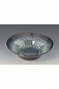 "Handmade Pottery Serving Bowl 10"" Diameter in Peacock Blue Glaze"