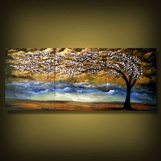 tree painting palette knife textured gold clouds by mattsart, $299.00