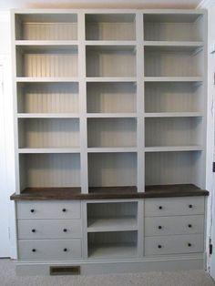 IKEA hack - Built-in Bookshelves with RAST drawer base