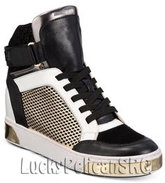 Michael Kors Michael Pia High-top Leather Sneakers In Black/pale Gold Michael Kors Trainers, Michael Kors Shoes, Black Leather Shoes, Leather Sneakers, Urban Chic Looks, High Top Sneakers, Shoes Sneakers, Women's Shoes, Sneakers Fashion Outfits