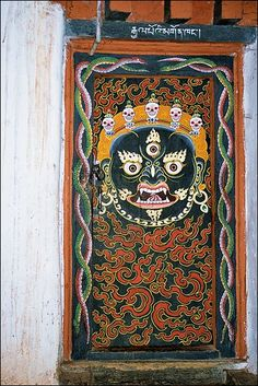 Painted door. Bhutan