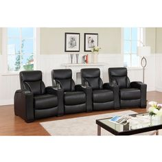 Brooklyn Four Seat Black Leather Recliner Home Theater Seating Set | Overstock™ Shopping - Great Deals on Sofas & Loveseats