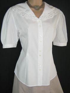 LAURA ASHLEY Vintage White Edwardian Style Lace Collared Blouse, UK 12