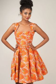 Darling ankara dress SIZE 8 by solomek on Etsy - what a beautiful neckline!