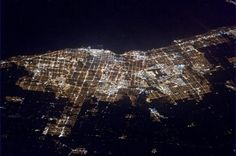 """Astronaut Chris Hadfield took this photo over Canada at night from the International Space Station on In his words: """"Toronto, Ontario. Interesting the different things that become more visible at night. Back Photos, Cool Photos, Earth View From Space, Earth Space, North America Continent, Earth At Night, Chris Hadfield, Earth Photos, O Canada"""