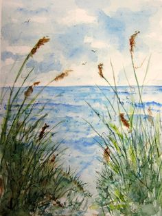 BeachscapeOriginal Watercolor Landscape by RPeppers on Etsy, $110.00