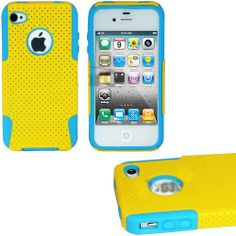 """myLife (TM) Yellow + Sky Blue Urban Armor (2 Piece Mesh Hybrid) Toughsuit Case for iPhone 4/4S (4G) 4th Generation Touch Phone (Thick Outer Shockproof Rubber + Soft Internal Silicone Gel + myLife (TM) Lifetime Warranty + Sealed In myLife Authorized Packaging Only) """"ATTENTION: This 2 piece protective case has a mesh design that allows your phone to slide easily in and out of your pocket but prevents the phone from slipping in your hands"""" - http://www.mormonslike.com/mylife-tm-"""